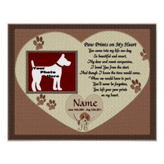 Paw Prints on My Heart - Brown Dog Memorial Poster