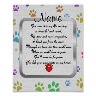 Paw Prints on My Heart Poem Pet Memorial