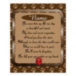 Paw Prints on My Heart Poem Pet Memorial Poster