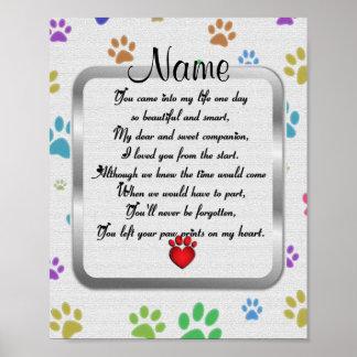 Paw Prints on My Heart Poem Pet Memorial Poster