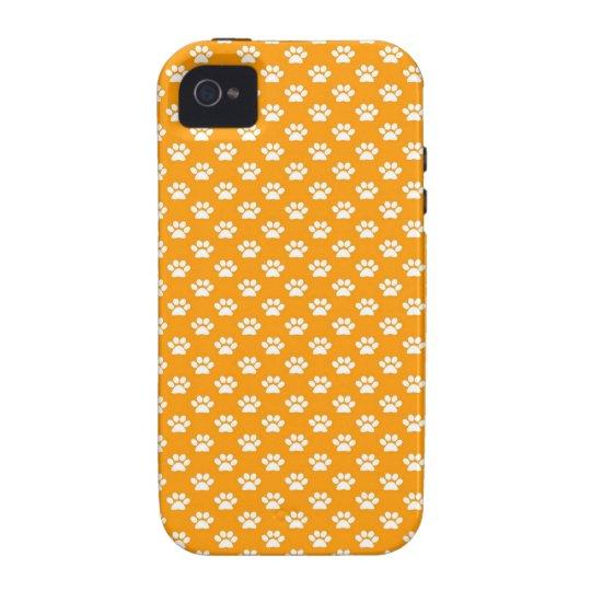 Paw Prints on Orange iPhone 4/4S Case
