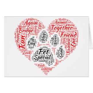 Paw Prints on Our Hearts Rainbow Bridge Card