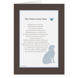 Paw Prints On Your Heart sympathy dog sympathy Card
