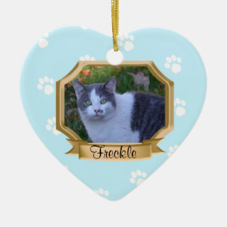 Paw Prints Pet Photo Frame Light Blue Christmas Ornament