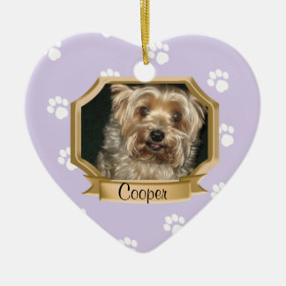 Paw Prints Pet Photo Frame Purple Christmas Ornament