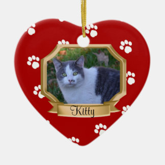 Paw Prints Pet Photo Frame Red Christmas Ornament