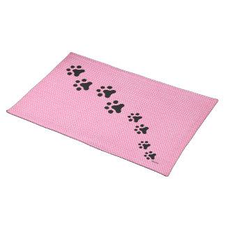 Paw Prints Placemat (pink polkadots)