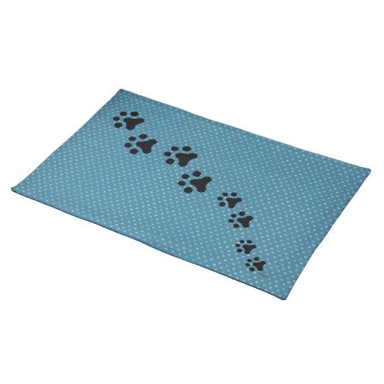 Paw Prints Placemat (polkadot blue)