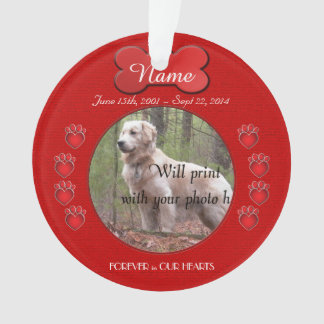 Paw Prints Poem Memorial Red Ornament