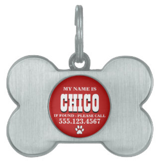Paw Prints Red Personalized Pet ID Tag