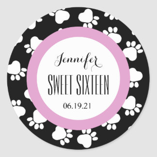 PAW PRINTS Sweet Sixteen 16 Custom V13 BLACK PINK Round Sticker