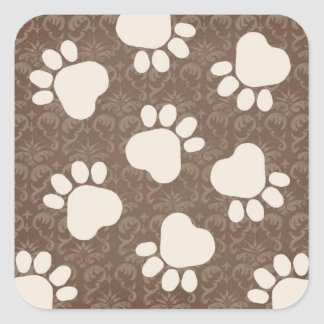 Paw Prints - Talk to the Paw! Brown and Cream Square Stickers