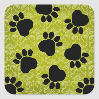 Paw Prints - Talk to the Paw! Lime Green and Black Square Stickers