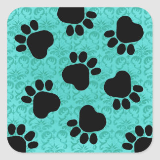 Paw Prints - Talk to the Paw! Paws & Green Damask Square Stickers
