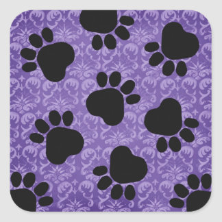 Paw Prints - Talk to the Paw! Purple and Black Square Sticker