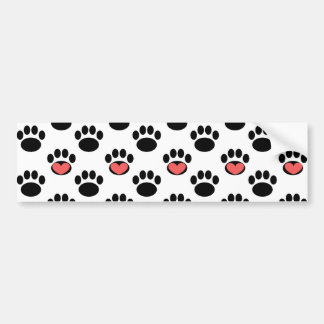 Paw Prints with Hearts Bumper Sticker