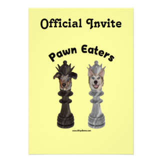 Pawn Eaters Chess Dogs Custom Invitations