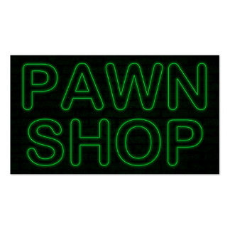 pawn shop electric green sign business card