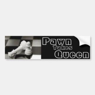 Pawn Takes Queen Car Bumper Sticker