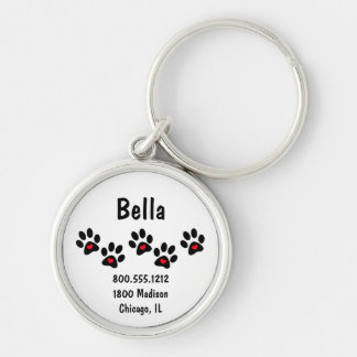 Pawprint And Hearts Pet Identification Tag Silver-Colored Round Key Ring