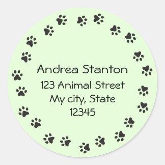 Pawprint border address label - green round sticker