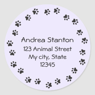 Pawprint border address label - purple round sticker