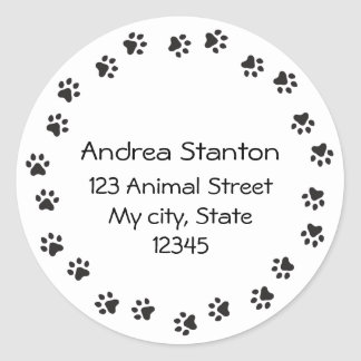 Pawprint border address label round sticker