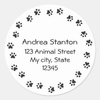 Pawprint border address label round sticker