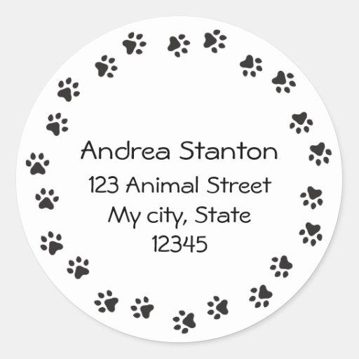Pawprint border address label round stickers