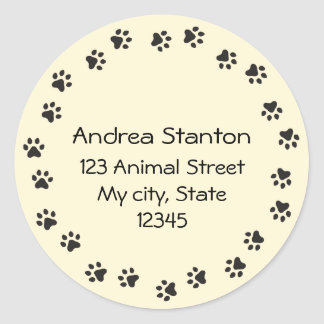Pawprint circle address label - pale yellow classic round sticker