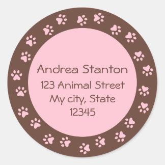 Pawprint circle address label - pink and brown