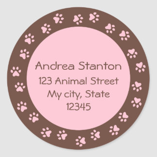 Pawprint circle address label - pink and brown classic round sticker