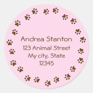 Pawprint circle round address label - pink classic round sticker