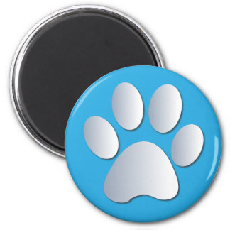 Pawprint dog or cat pets silver and blue magnet, 6 cm round magnet