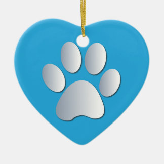 Pawprint dog or cat pets silver and blue ornament
