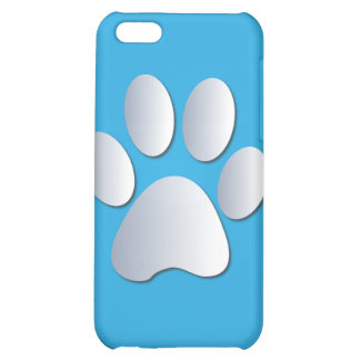 Pawprint dog or cat pets silver blue iphone 4 case