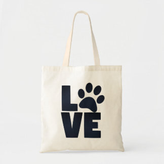 Pawprint Love in Black Tote Bag