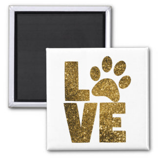 Pawprint Love in Gold Magnet