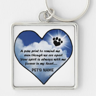 Pawprint Memorial Poem Key Ring