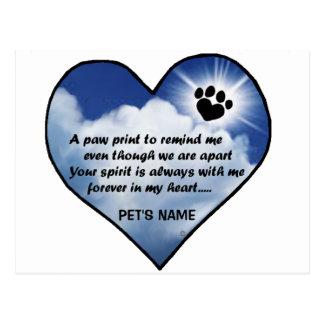Pawprint Memorial Poem Postcard