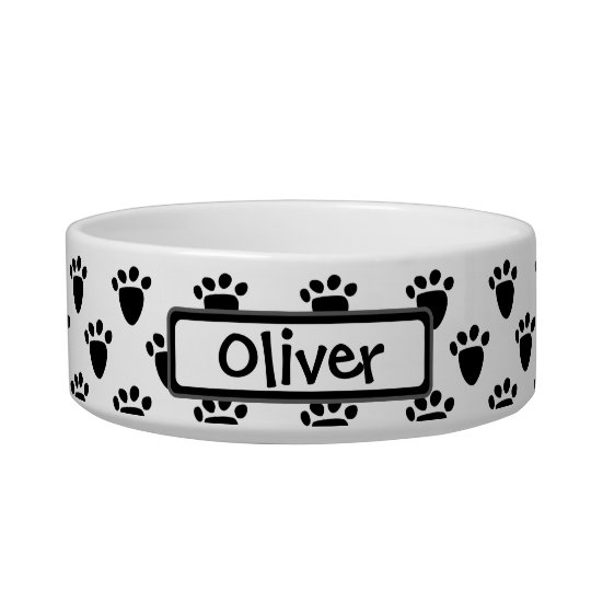 Pawprint Pattern Black White Personalised Pet Bowl