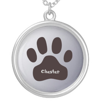 Pawprint Personalized Animal Paw Custom Name Silver Plated Necklace