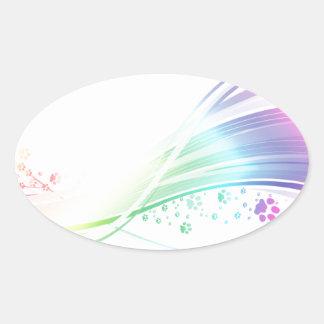 Pawprint Rainbow Oval Sticker
