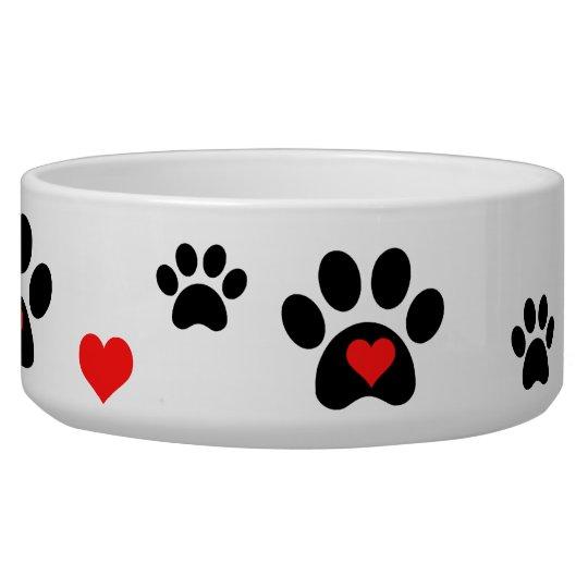 Pawprints and Hearts Dog Bowl