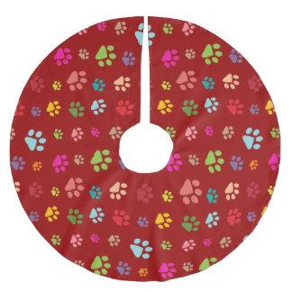 Pawprints Design Tree Skirt Brushed Polyester Tree Skirt