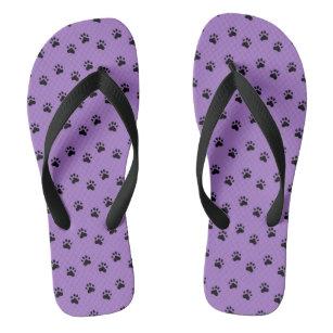 f0230e2af1121 Pawprints Purple (4) Flip Flops