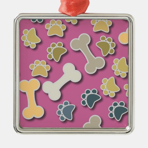 Paws and Bones Pink Square Ornament