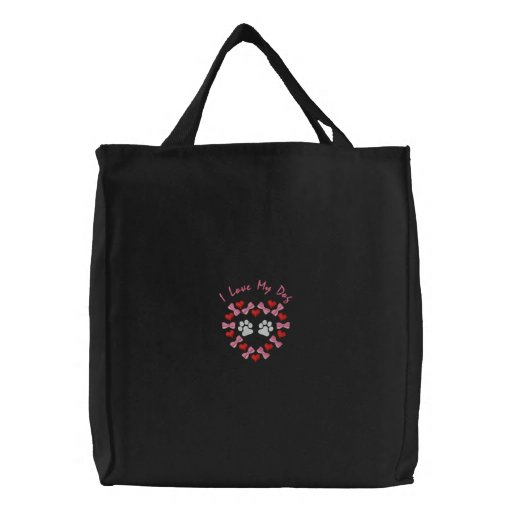 Paws and Hearts Embroidered Tote Bag - Customizabl