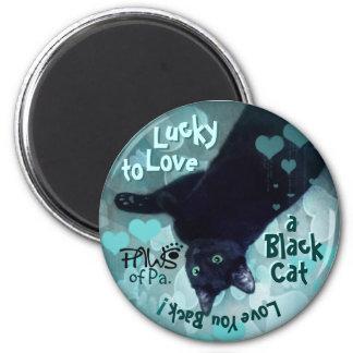 PAWS black cat love2 6 Cm Round Magnet