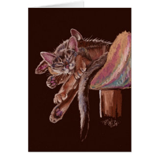 """Paws"" Dozing Abyssinian Cats Card"